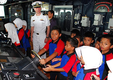 Headscarves called tudong are compulsory for Brunei's Muslim schoolgirls US Navy 111004-N-VP123-071 Lt. j.g. Artemas Richardson, a public affairs officer aboard the Arleigh Burke-class guided-missile destroyer USS Dewey.jpg
