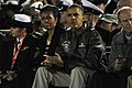 US Navy 111111-N-OK922-097 President Barack Obama and first lady Michelle Obama watch the Quicken Loans Carrier Classic aboard the Nimitz-class air.jpg