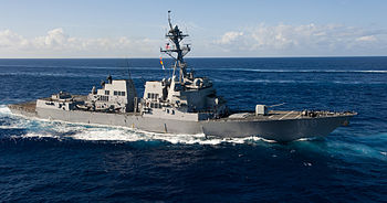 US Navy 120214-N-OY799-496 The Arleigh Burke-class guided-missile destroyer USS Wayne E. Meyer (DDG 108), transits the Pacific Ocean during a photo.jpg