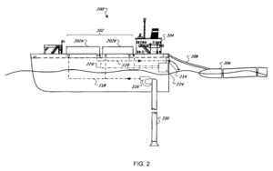"Google barges - Fig. 2, US Patent 7,525,207, ""Water-based data center"" (Google Inc., 2009)"