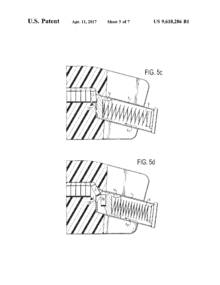 Image from patent 9,618,286 for a pistol magazine speedloader. This design automatically pivots the cartridges, allowing them to enter pistol and center-feed magazines.