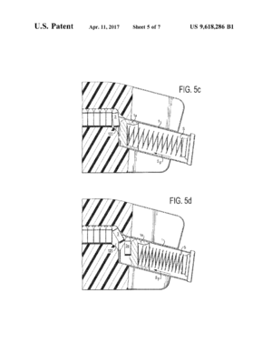 Speedloader - Image from patent 9,618,286 for a pistol magazine speedloader. This design automatically pivots the cartridges, allowing them to enter pistol and center-feed magazines. Shown is a 9x19mm round entering a Glock 17 magazine.