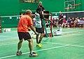 US Senior International Badminton Tourney (Miami) - MD 35 - Anil & Sylvain def Andy & Andre 13 & 10 - Anil serving (16462309790).jpg