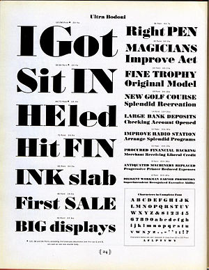 Bodoni - American Type Founder's Ultra Bodoni font in metal type. A derivative of their Bodoni family, the design is not directly based on Bodoni's own work but was very popular in advertising.