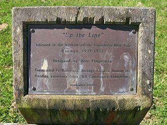 Unanderra–Moss Vale railway line - Memorial plaque