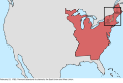 Map of the change to the international disputes involving the United States in central North America on February 22, 1782