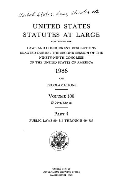 File:United States Statutes at Large Volume 100 Part 4.djvu