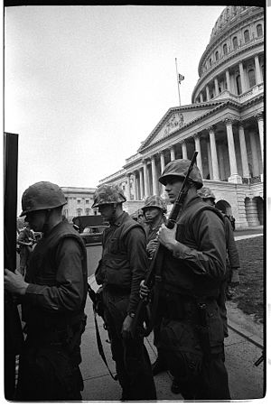 1968 Washington, D.C. riots - United States soldiers on guard at the Capitol on April 8