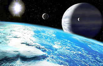 Upsilon Andromedae d - Artist's impression of a potentially habitable exomoon orbiting a gas giant.
