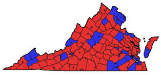 Elections in Virginia - 2006 Senatorial election majority results by county, with George Allen in red and Jim Webb in blue.