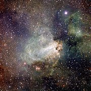 VST image of the spectacular star-forming region Messier 17 (Omega Nebula).jpg