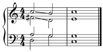 Predominant chord - Image: V of V in C four part harmony