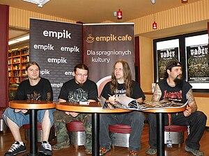 """Vader (band) - From left: Wacław """"Vogg"""" Kiełtyka, Paweł """"Paul"""" Jaroszewicz, Piotr """"Peter"""" Wiwczarek and Tomasz """"Reyash"""" Rejek, August 28, 2009"""