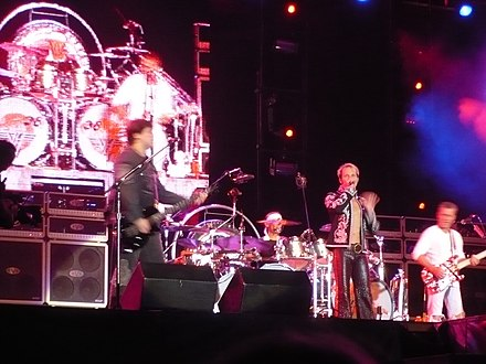 Van Halen playing San Antonio, Texas, January 24, 2008 with Wolfgang Van Halen as bassist and reunited with David Lee Roth Van Halen 2008.jpg