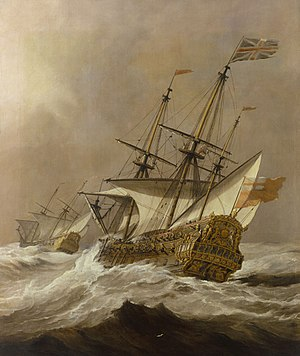 HMS Resolution - Resolution in a gale by Willem van de Velde, the younger depicts the second Resolution c. 1678