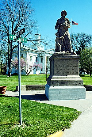 Vandalia, Illinois - Madonna of the Trail statue in front of the Vandalia State House.
