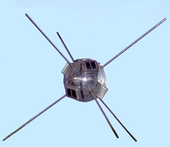 Small, round satellite with six rod antennas radiating from it