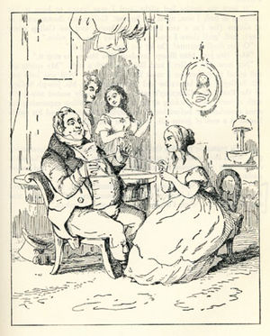 Becky Sharp (character) - Illustration by Thackeray to Chapter 4 of Vanity Fair: Becky Sharp is flirting with Mr Joseph Sedley.