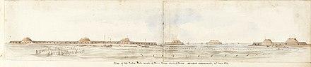 Vista de los Fuertes de Taku, desembocadura del río Peiho, el 25 de junio de 1859