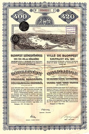 Budapest - Bond of the City of Budapest, issued 1. Mai 1911