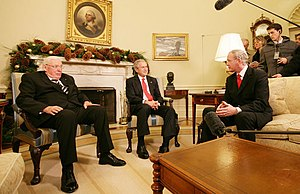 Northern Ireland peace process - Martin McGuinness, George W. Bush and Ian Paisley in December 2007