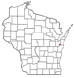 Location of New Denmark, Wisconsin