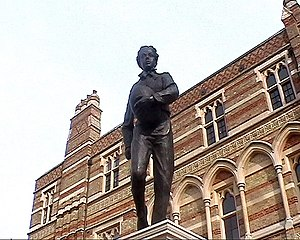 Rugby union match officials - Statue of William Webb Ellis believed to be the creator of rugby union, outside Rugby School