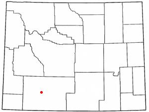 Reliance, Wyoming - Image: WY Map doton Reliance