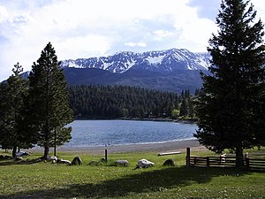 Eastern Oregon - Mountains and glacial lake in Wallowa County attract tourists to the area.