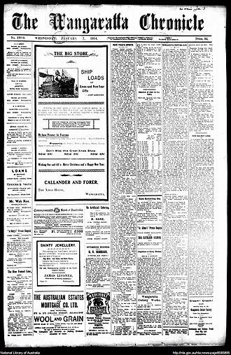 Wangaratta Chronicle - Front page of the Wangaratta Chronicle no. 2893 7 January 1914