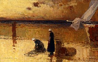 Fisherwomen on the shore.