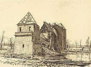 North Midland Divisional Engineers - The Chateau near Brie on the Somme, where rehearsals for the St Quentin Canal crossing were held (Drawing by Muirhead Bone)