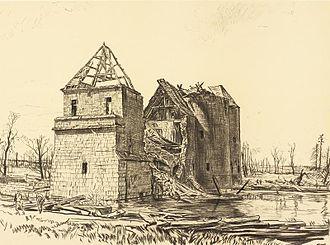 Muirhead Bone - Chateau near Brie on the Somme (1918), Art.IWM REPRO00068459