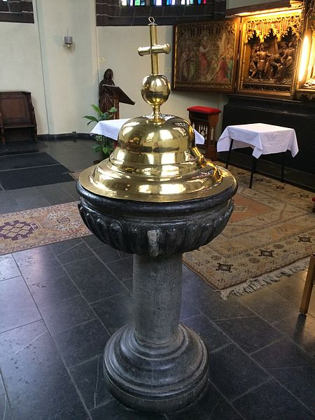 Baptismal font of the church of Saint John in Wavre, Belgium, made in 1602.