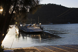Webbs Creek Ferry - Webbs Creek Ferry, departing the Wisemans Ferry side of the Hawkesbury River