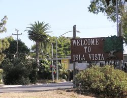 A welcome sign in Isla Vista