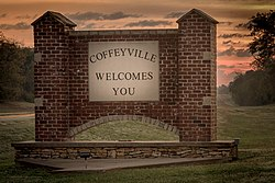 Sign at the west entrance to the City of Coffeyville 2016