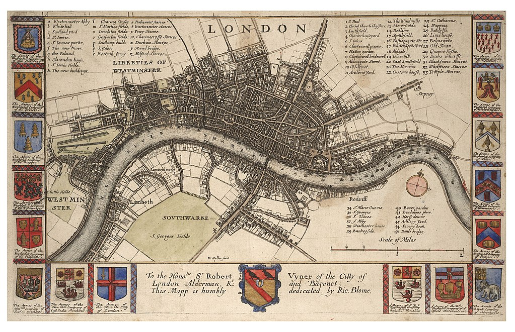 Wenceslas Hollar - Plan of London before the fire (State 2), variant