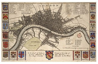 Great Plague of London - Map of London by Wenceslas Hollar, c.1665