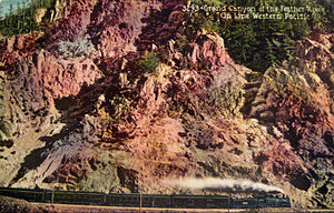 Feather River Route - A Western Pacific passenger train in the grand canyon, circa 1910s