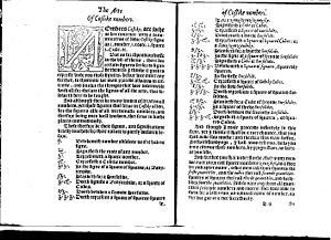 Zenzizenzizenzic - Page from The Whetstone of Witte, 1557. Zenzizenzizenzike occurs at the top of the right hand page.
