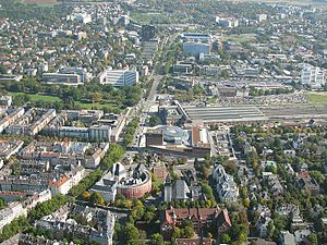 Wiesbaden Hauptbahnhof - Aerial view of the railway station