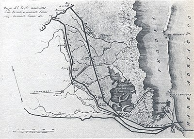 Tracciato Taglio Nuovissimo del Brenta nel 1610 - Zedrini - 1811
