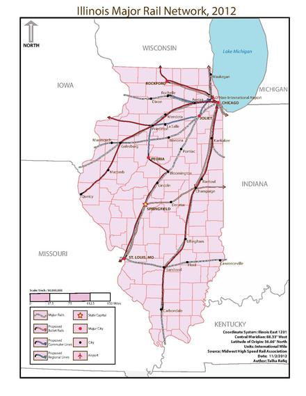Illinois major rail network