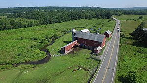 Papakating Creek - An aerial drone photo of the twisting and turning of Papakating Creek, seen from above Winding Brook Farm in Frankford Township