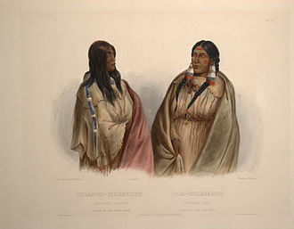 Cree - Illustration of a Snake woman (left) and a Nehiyaw woman (right), c. 1840–1843, Karl Bodmer