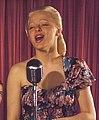 Woman singing, (52nd Street, New York, N.Y., ca. 1948) (LOC) (5268916237) (cropped).jpg