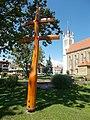 Wooden double cross in Keszthely Castle Garden, 2016 Hungary.jpg