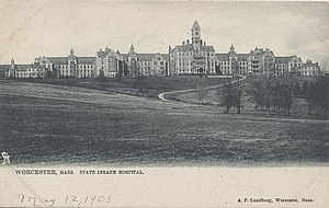 Worcester State Hospital - The Asylum pictured on a postcard dated 1905