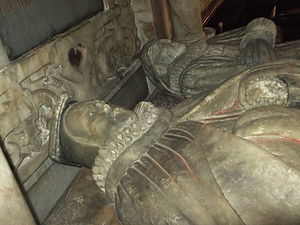 Sir Thomas Wolryche, 1st Baronet - Effigies of Edward Bromley and Margaret Lowe, his wife, in Worfield parish church. Bromley was Wolryche's uncle, godfather and patron.